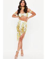 Missguided - White Lemon Print Mesh Gathered Skirt - Lyst