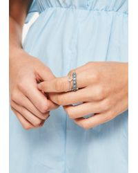 Missguided | Metallic Silver 2 Pack Ring Set | Lyst