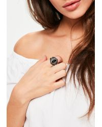 Missguided | Black Stone Statement Ring | Lyst