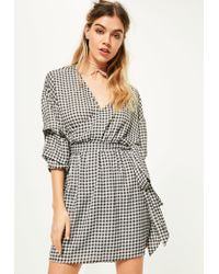 Missguided | Black Gathered Sleeve Tie Waist Gingham Dress | Lyst
