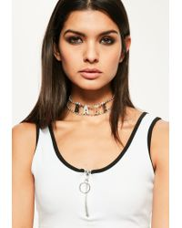 Missguided | Metallic Silver Diamante Babe Slogan Choker Necklace | Lyst