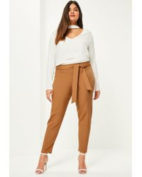 Missguided | Natural Plus Size Camel Belted Cigarette Trousers | Lyst