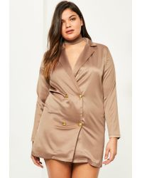 Missguided | Natural Plus Size Nude Satin Choker Neck Tuxedo Dress | Lyst