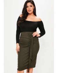 Missguided | Multicolor Plus Size Khaki Tie Waist Midi Skirt | Lyst