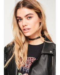 Missguided | Black Diamante Skinny Choker Necklace | Lyst
