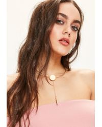 Missguided | Metallic Rose Gold Drop Pendant Choker Necklace | Lyst