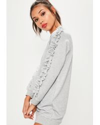 Missguided | Gray Petite Exclusive Grey Frill Sleeve Sweater Dress | Lyst