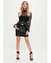 Missguided | Black Shine Faux Leather Buckle Mini Skirt | Lyst