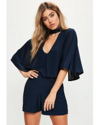 Missguided | Blue Navy Slinky Choker Neck Cape Romper | Lyst