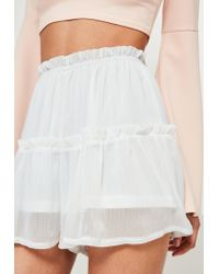 Missguided - White Crinkle Chiffon Floaty Frill Shorts - Lyst