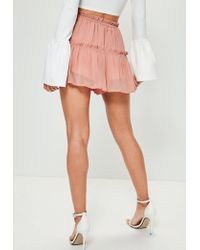 Missguided - Pink Crinkle Chiffon Floaty Frill Shorts - Lyst