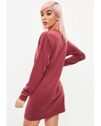 Missguided Red Burgundy Long Sleeved T-shirt Dress