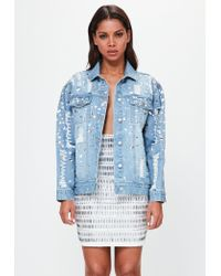 Missguided | Peace + Love Blue Oversized Embellished Denim Jacket | Lyst