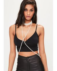 Missguided | White Pearl Body Chain | Lyst