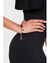 Missguided - Metallic Gold Bar Chain Bracelet - Lyst