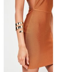 Missguided | Metallic Gold Thick Double Banded Arm Cuff | Lyst