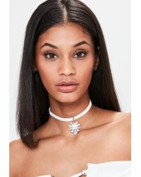 Missguided | Metallic Silver Diamante Drop Detail Choker Necklace | Lyst