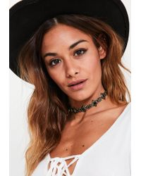 Missguided | Black Jeweled Stud Choker Necklace | Lyst