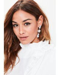Missguided   Metallic Silver Diamante Drop Earrings   Lyst
