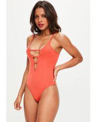 Missguided | Orange Ladder Front Bodysuit | Lyst
