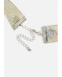 Missguided - Metallic Silver Holographic Diamante Choker - Lyst