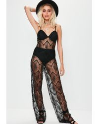 Missguided | Black Full Lace Bra Insert Jumpsuit | Lyst