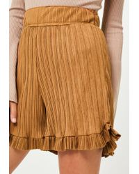 Missguided | Natural Camel Pleated Faux Suede Frill Shorts | Lyst