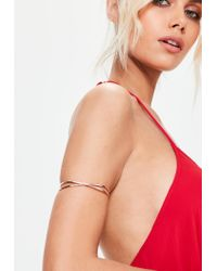 Missguided | Multicolor Rose Gold Cross Over Arm Cuff | Lyst