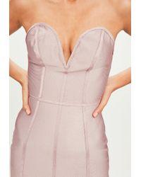 Missguided - Purple Bandage V Bar Bandeau Bodycon Dress - Lyst