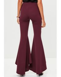 Missguided - Purple Burgundy Asymmetric Draped Cigarette Trousers - Lyst