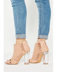 Missguided - Pink Whipstitch Clear Heel Ankle Boots - Lyst