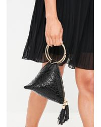 Missguided - Black Circle Hand Pyramid Clutch Bag - Lyst