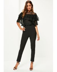 Missguided | Black Lace Frill Sleeve Jumpsuit | Lyst