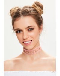 Missguided | Pink Velvet Chain Circle Trim Choker Necklace | Lyst