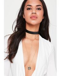Missguided - Metallic Gold Layered Drop Necklace Set - Lyst