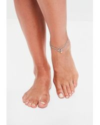 Missguided - Metallic Silver 3 Pack Diamante Anklets - Lyst