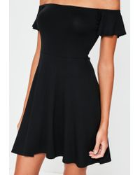 Missguided - Black Bardot Skater Dress - Lyst