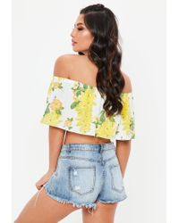 Missguided - Yellow Frill Bardot Tropical Crop Top - Lyst