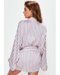 Missguided - Gray Grey Multi Stripe Piped Robe - Lyst