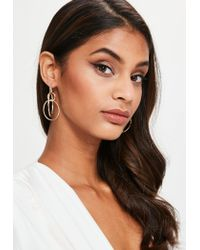 Missguided | Metallic Gold Multi Hoop Earrings | Lyst