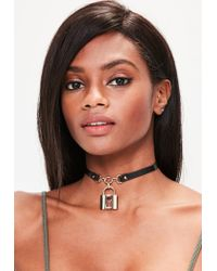 Missguided | Black Padlock Choker Necklace | Lyst