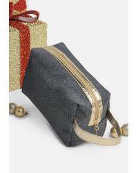 Missguided - Metallic Silver Glitter Makeup Bag - Lyst