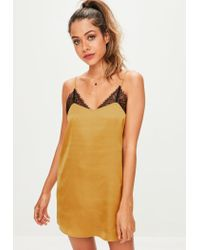 Missguided | Metallic Gold Lace Detail Slip Night Dress | Lyst