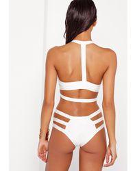 Missguided - Strappy Bandage Plunge Bikini White - Lyst