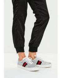 Missguided | Metallic Silver Glitter Lace Up Sneakers for Men | Lyst