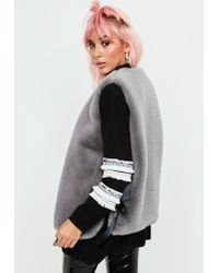 Missguided - Gray Ribbon Side Faux Fur Vest - Lyst