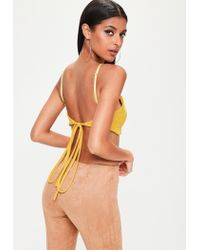 3fc5f44d55de5 Lyst - Missguided Yellow Cross Tie Crop Top in Yellow