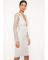 Missguided - Gray Grey Lace Plunge Midi Dress - Lyst