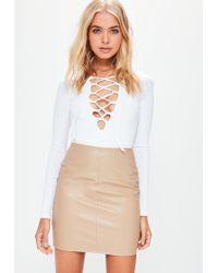 bbf88ca1c Missguided Tan Faux Leather Mini Skirt - Lyst