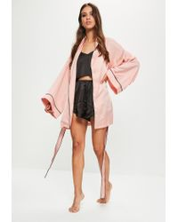 Missguided - Pink Satin Embroidered Piped Robe - Lyst